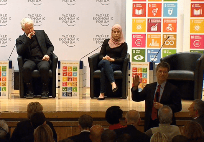 Photo: SDG Advocates speak at a panel event in Davos, Switzerland, on 21 January.