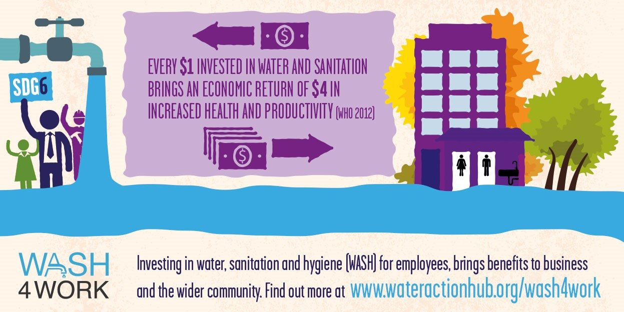 Graphic: The #WASHforWork initiative aims to bring better sanitation practices to the workplace and to workers' homes.