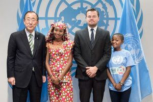 Photo: Mr. Ban poses with three of the speakers who addressed the opening segment of the signature ceremony. From left: Hindou Oumarou Ibrahim (from Chad), civil society representative; UN Messenger of Peace Leonardo DiCaprio; Getrude Clement, 16-year-old Tanzanian youth representative.