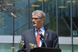 Photo:President of the General Assembly Mogens Lykketoft (third from right) speaks at a tree-planting ceremony on 22 April 2016.