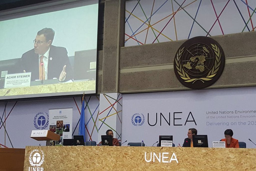 Photo: UNEP Executive Director Achim Steiner (on monitor) addresses the second United Nations Environment Assembly. Photo: UNEP
