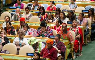 Photo: A view of participants in the General Assembly Hall during the opening ceremony of the Fifteenth Session of the United Nations Permanent Forum on Indigenous Issues.