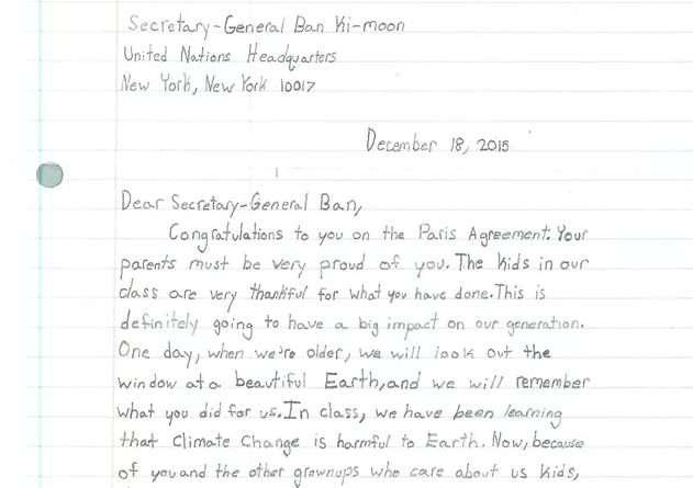 Sample Letter For Grade Change. Letters to Ban Ki moon  Fifth graders write about climate change