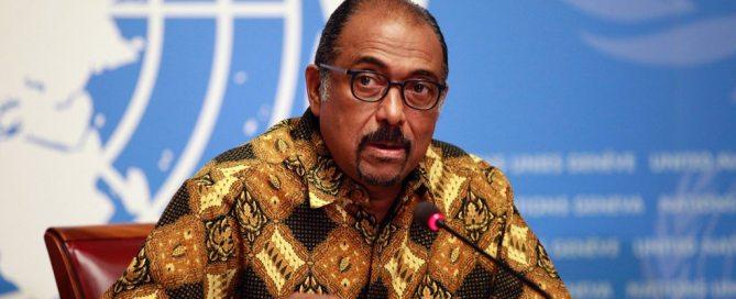 Photo: UNAIDS Executive Director Michel Sidibé launches the Prevention gap report at a press conference in Geneva. Photo: UNAIDS