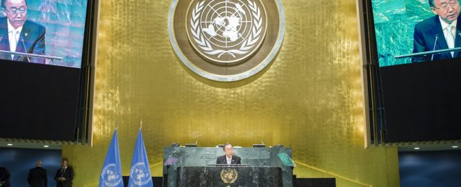 Photo: Secretary-General Ban Ki-moon speaks at a 21 September event for the Paris Agreement on Climate Change.