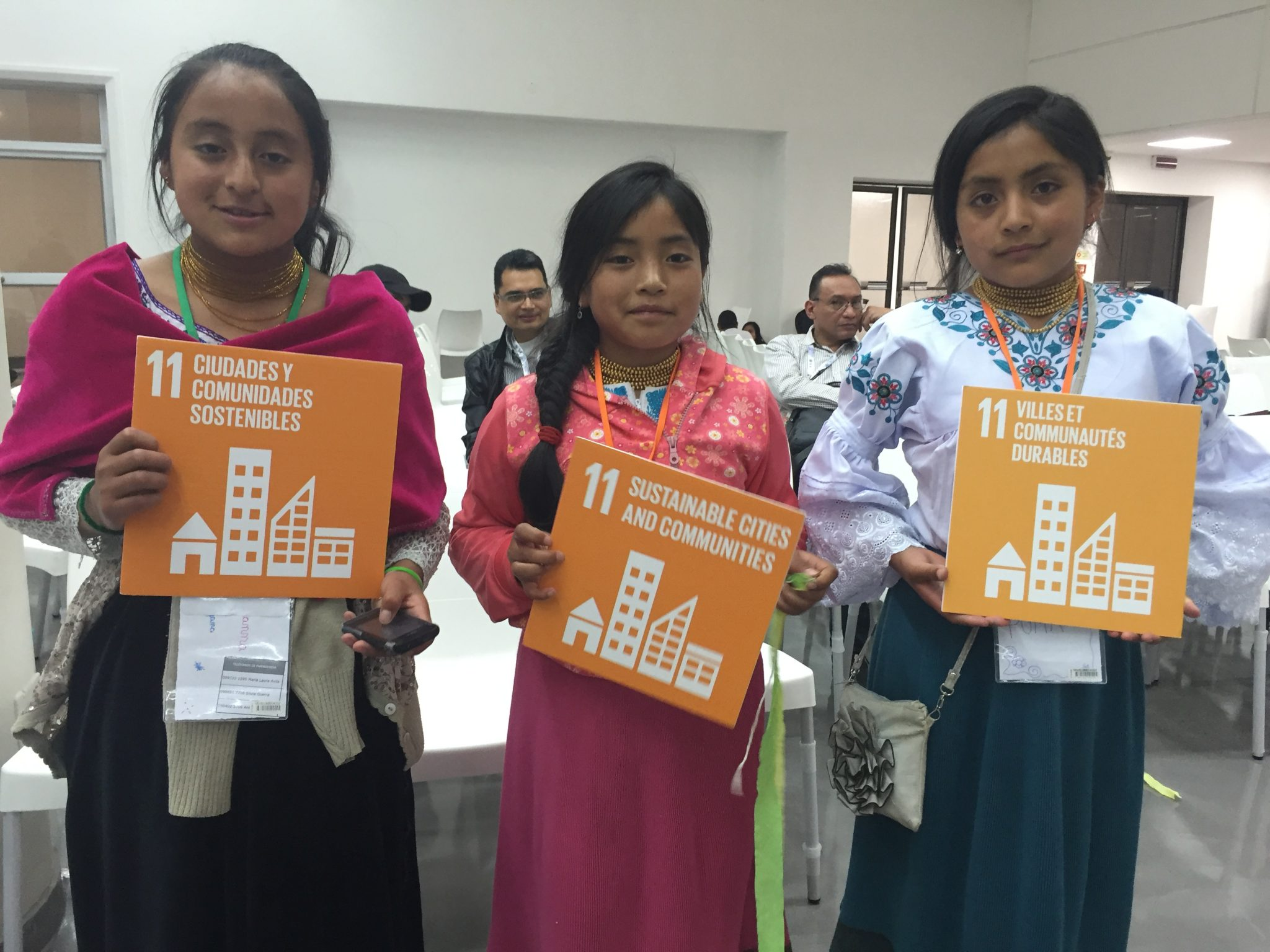 Photo: Girls from Ecuador attend a Q-and-A with UN-Habitat Executive Director Joan Clos at the Habitat 3 conference in Quito.