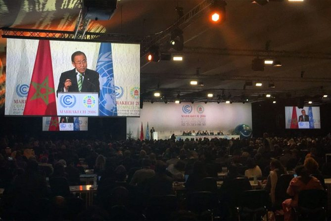Secretary-General Ban Ki-moon addresses the opening of the High-Level Segment of the 22nd Conference of the Parties to the UN Framework Convention on Climate Change in Marrakech, Morocco. Photo: OSSG