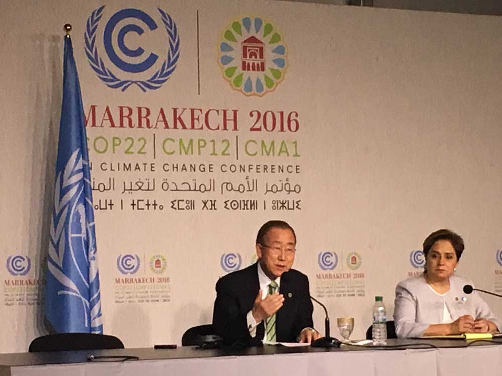 Photo: UN Secretary-General Ban Ki-moon speaks to reporters at COP22.