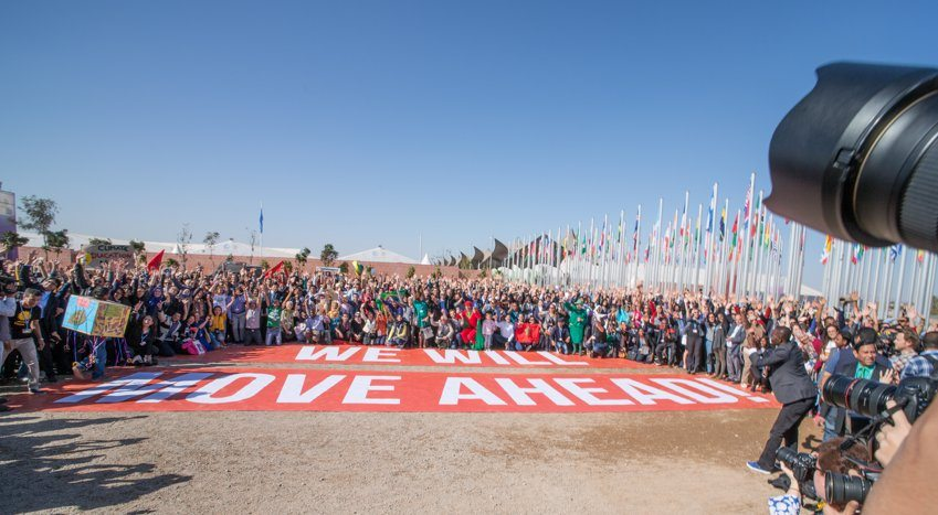 Photo: Giant familiy photo outside the UN Climate Conference venue in Marrakech.