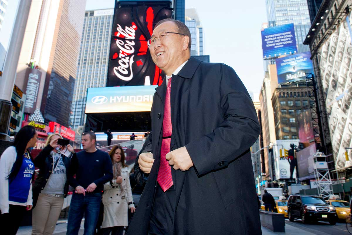 Photo: Secretary-General Ban Ki-moon visits Times Square on UN Day 2013.