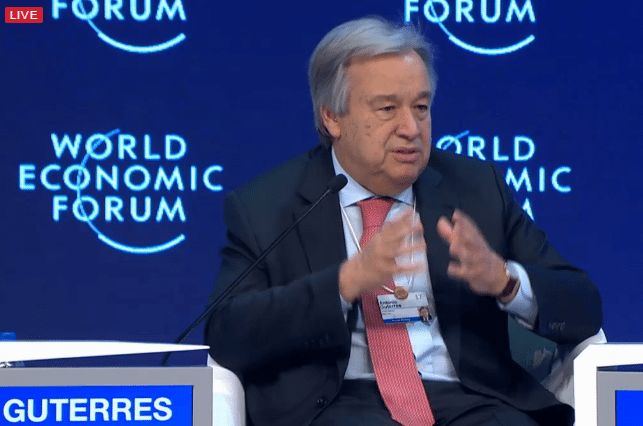 Photo: Secretary-General Antonio Guterres speaks at the World Economic Forum in Davos, Switzerland, on 19 January 2017.