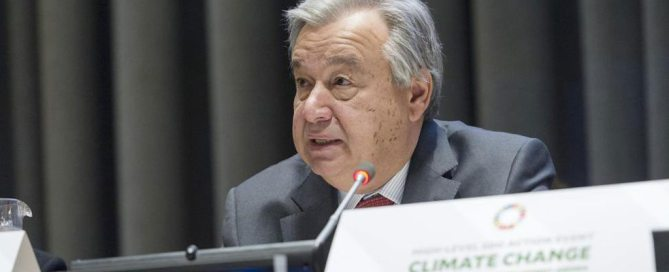 Photo: Secretary-General António Guterres addresses a General Assembly High-Level action event aimed at invigorating political momentum on climate change, highlighting its deep links to the UN 2030 Agenda on Sustainable Development.