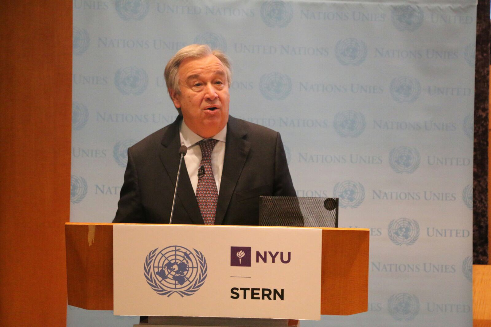 Photo: Secretary-General Antonio Guterres addresses the NYU audience.