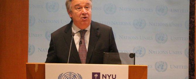 Photo: Secretary-General Antonio Guterres addresses the NYU audience.
