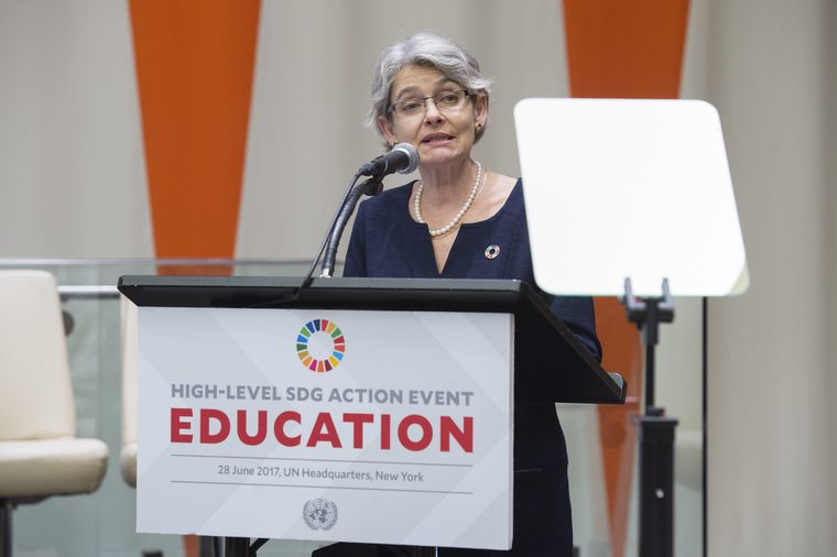 Irina Bokova, Director-General of the United Nations Educational, Scientific and Cultural Organization (UNESCO), addresses the General Assembly High-level Action Event. UN Photo/Eskinder Debebe