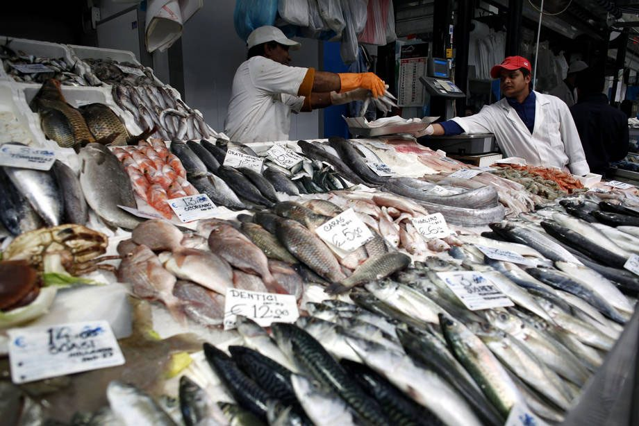 Photo: Fresh fish for sale at a market in Rome, Italy.