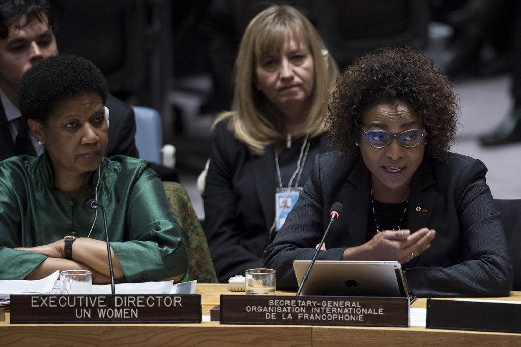 Michaëlle Jean, Secretary-General of the Organisation Internationale de la Francophonie (La Francophonie), addresses the Security Council's open debate on women, peace and security. At left is Phumzile Mlambo-Ngcuka, Executive Director of the UN Entity for Gender Equality and the Empowerment of Women (UN Women). UN Photo/Kim Haughton