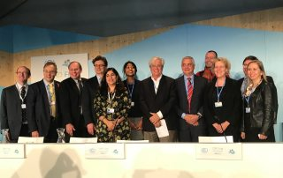 Photo: UN-Habitat Executive Director Joan Clos poses after a discussion on urban planning.