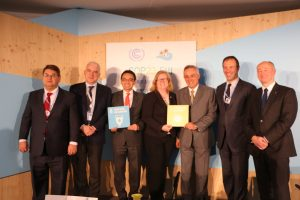 Photo: Panelists from a water and energy discussion support Goal 6 and Goal 7.