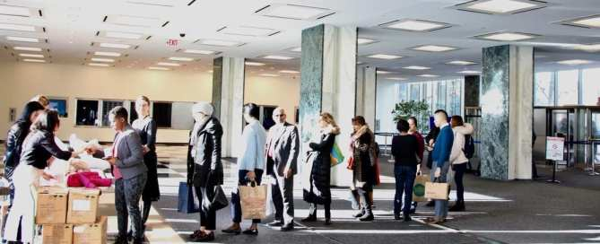 UN staff in New York in line waiting for donating winter clothes.