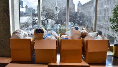 Hampers with donated clothes at UN New York Headquarters.