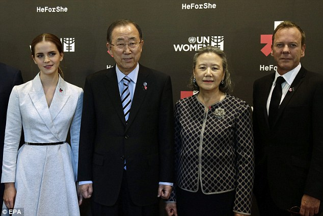 Emma Watson, United Nations Secretary General Ban Ki-moon, Ban Soon-Taek, and Kiefer Sutherland pose at the He for She event organized by UN Women