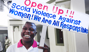 """Mwasapi Kihongosi was one of the leaders of the Caravan for Change – a bus consisting of 25 activists who visited five different regions of Tanzania over eight days in November 2012 to raise awareness and encouraging people to """"Open Up!"""" and speak out against violence against women. Photo credit: UN Women/Laura Beke"""