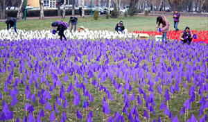 Around 100 UNiTE activists took part in an activity to install coloured flags in the center of the capital of Kyrgyzstan, Bishkek, on 10 December 2012. The 9800 red flags symbolize women who were kidnapped and married against their will, 2000 white flags symbolize the quantity of women suffering sexual violence and 7500 violet flags – women complained officially about domestic violence. Photo credit: UN Women/Eric Gourlan