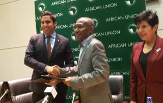 Alhendawi and Dr. Martial De Paul Ikounga Commissioner for Human Resource, Science and Technology Department