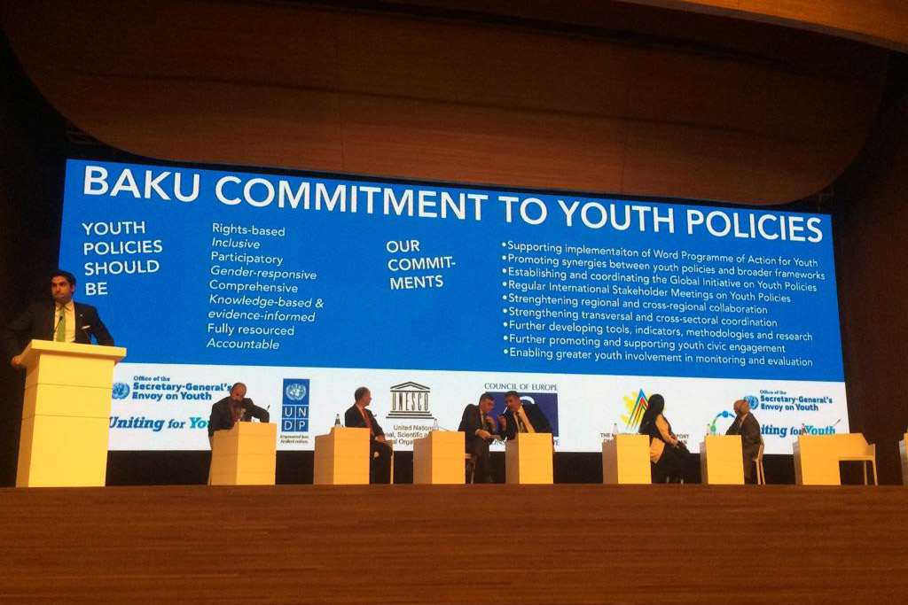 """The UN Secretary-General's Envoy on Youth Ahmad Alhendawi launches the """"Baku Commitment to Youth Policies"""" on behalf of all the co-conveners of the First Global Forum on Youth Policies, held in Azerbaijan from 28-30 October 2014. Photo: Youth Policy Forum"""