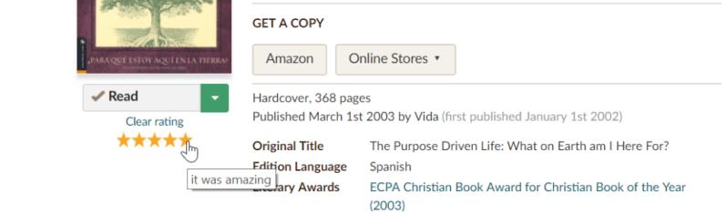 rating en goodreads