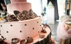 Torta rosa con scaglie di cioccolato, particolare