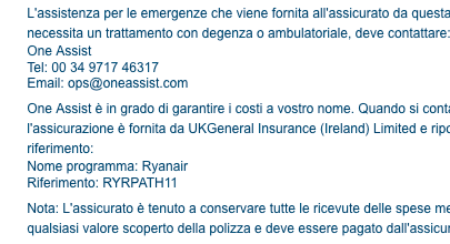 assicurazione-ryanair-assistenza-numero
