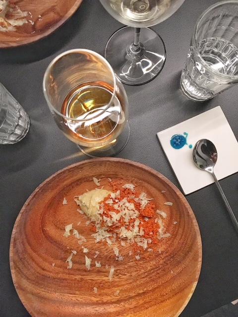 Dessert banana, formaggio S.Miguel e spezie ristorante Leopold