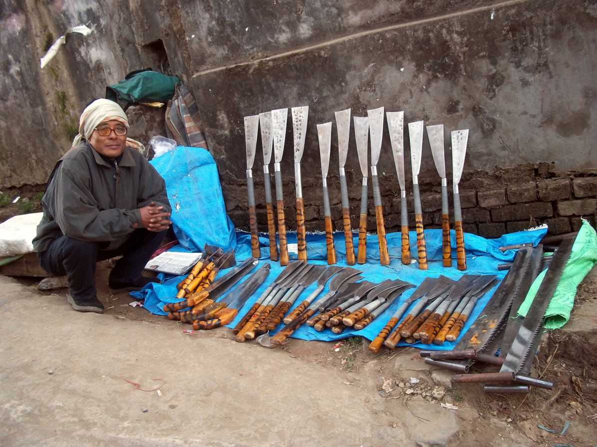 How is the machete an integral part of northeast Indian lifestyle?