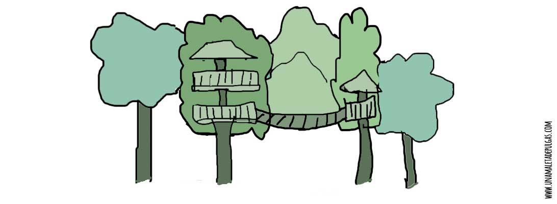 7f4d2247b Dibujo texto Casa del árbol. En medio de un bosque una pequeña casa con un