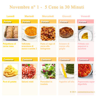 Novembre N 1 – 5 cene veloci in 30 minuti   Una Mamma In Cucina