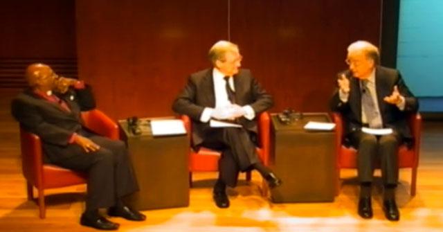 Desmond Tutu and Jorge Sampaio at Gulbenkian Foundation in Lisbon