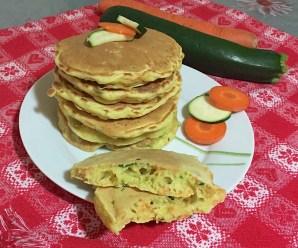 PANCAKES SALATI CAROTE E ZUCCHINE (senza uova, ricetta LIGHT)
