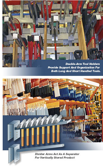 tool holders and pallet rack divider arms