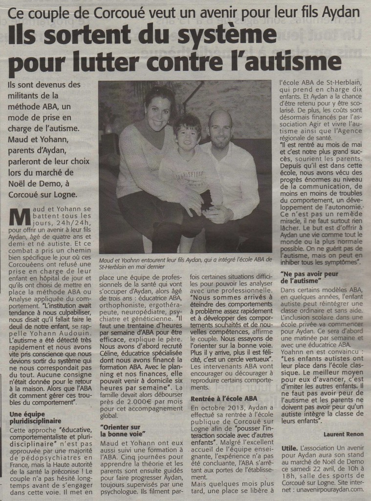 Article de presse - le courrier du pays de Retz - 21.11.2014