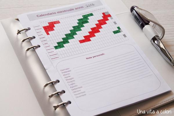 Calendario mestruale da stampare