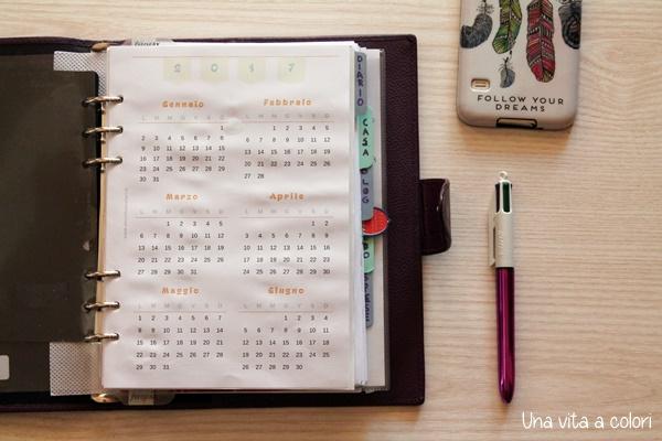 Calendario 2017 annuale per agenda A5 e Personal