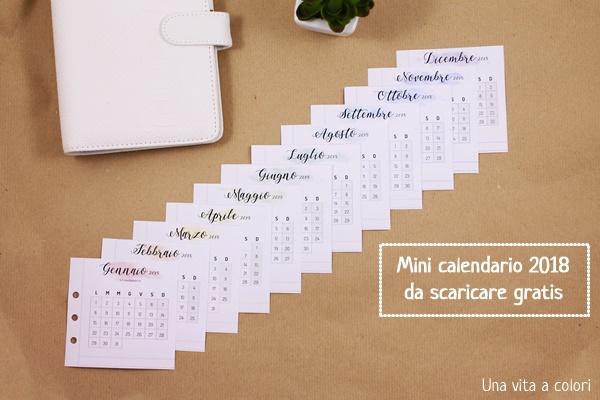 Mini calendario 2018 pdf da scaricare e stampare gratis