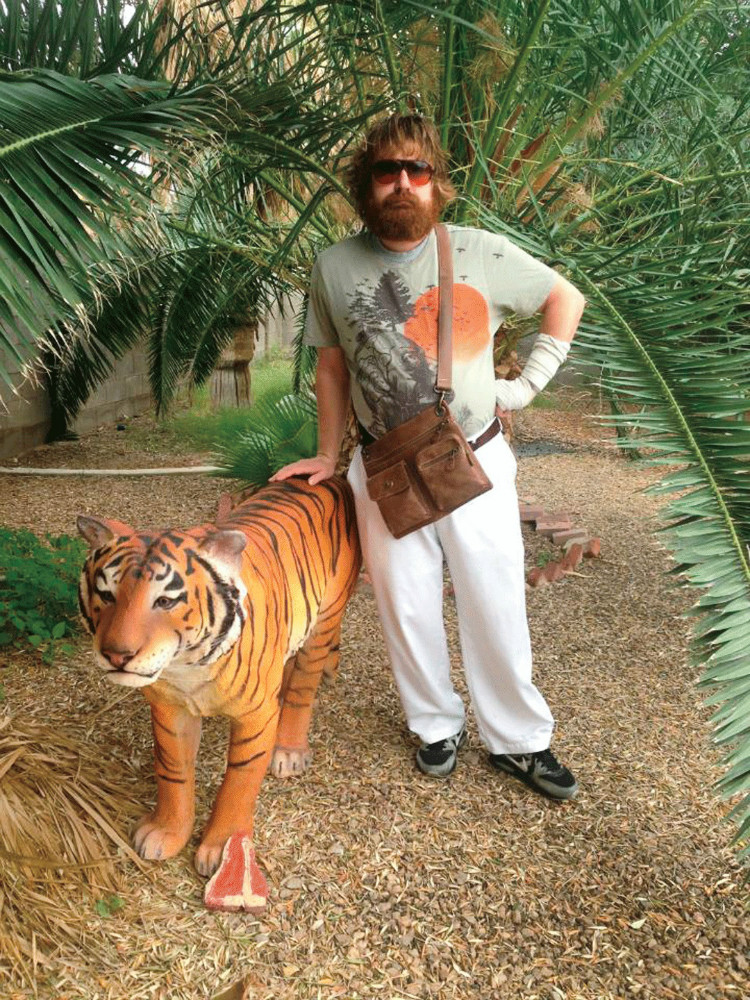 A man impersonates Alan from The Hangover and makes