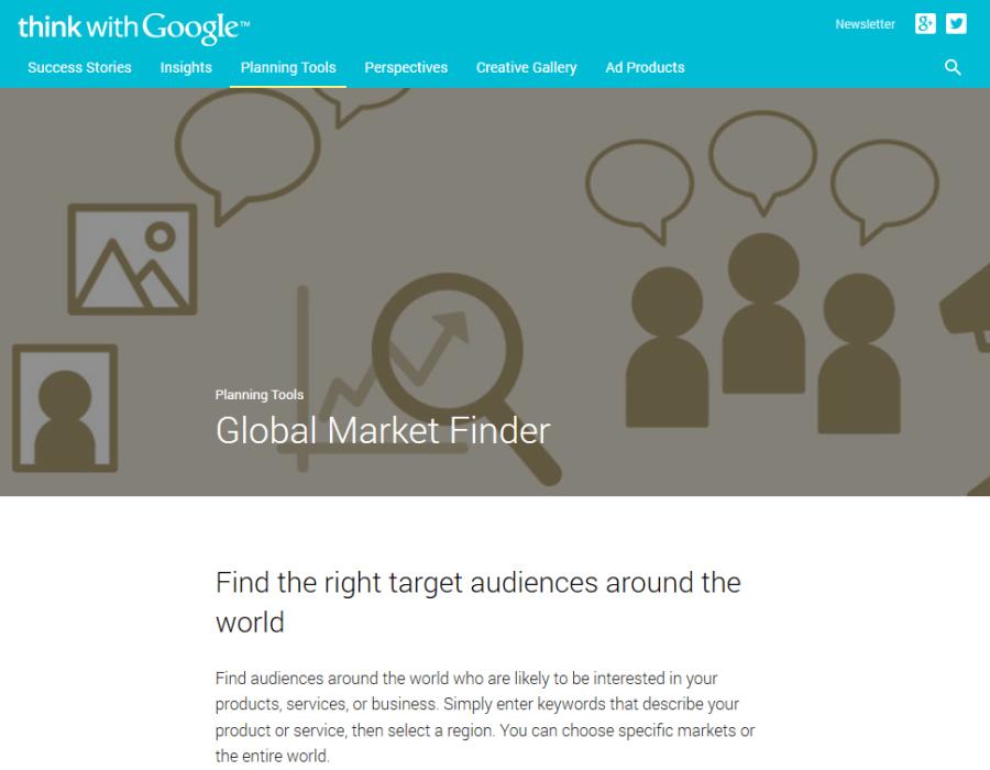 Πρώτη σελίδα Google Global Market Finder