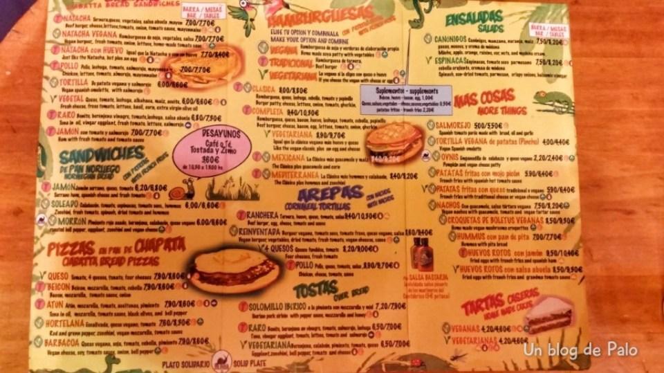 Carta del restaurante Viva Chapata