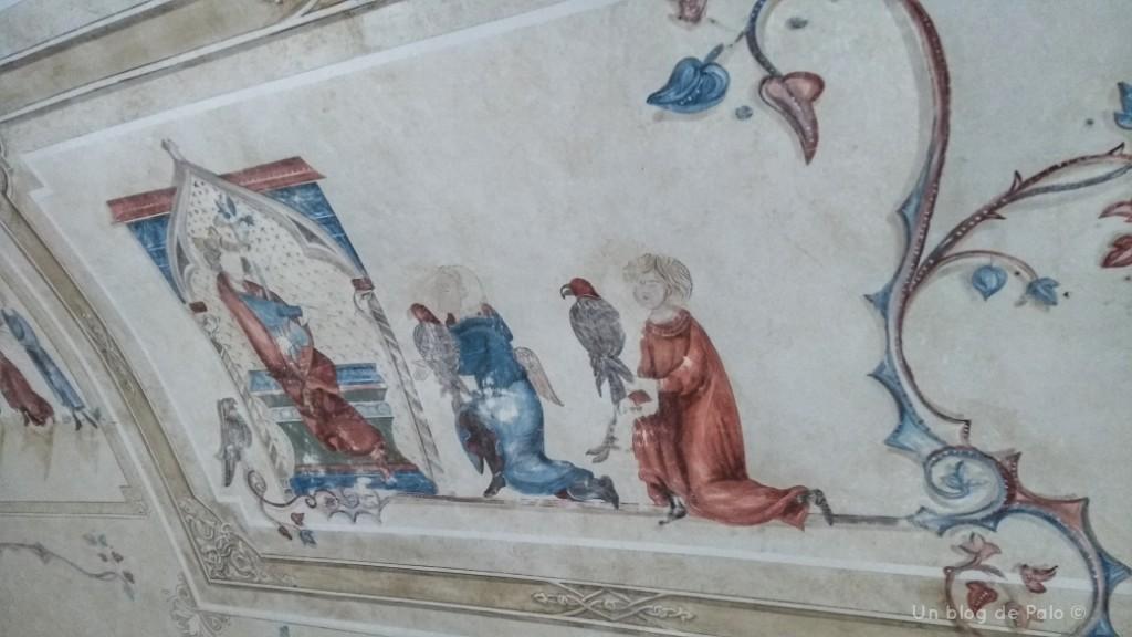 Decoración con pasajes de la historia de Federico II y la cetrería