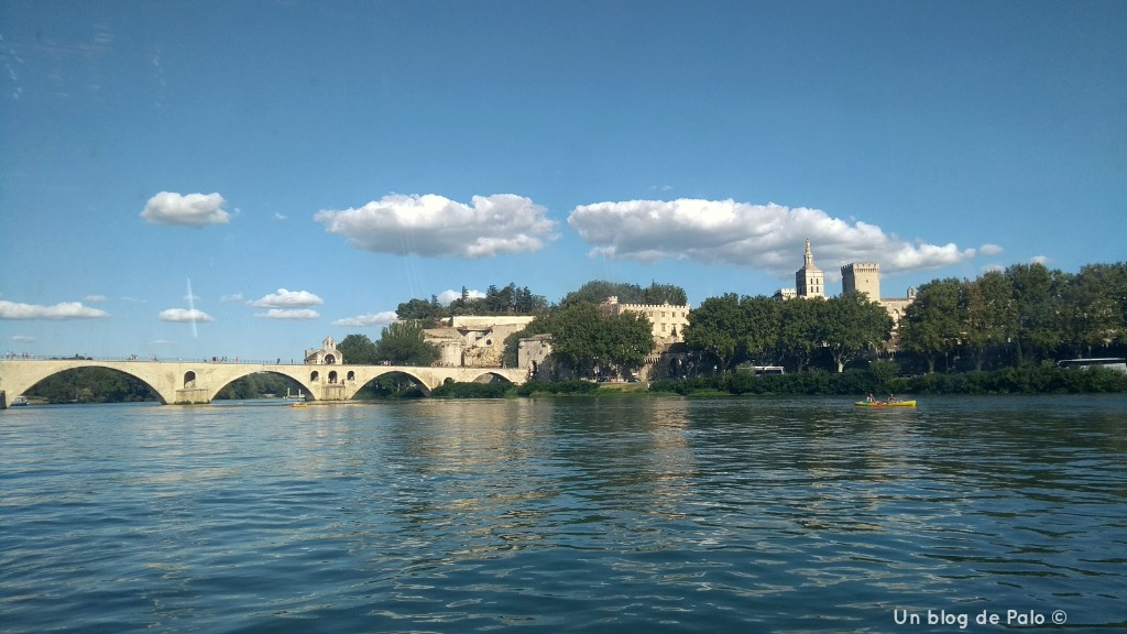 Vistas desde uno de los barcos del Ródano hacia Avignon