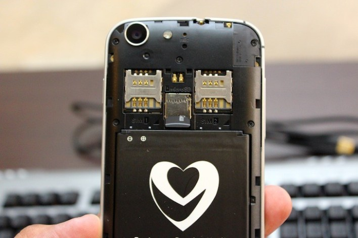 Looks like a smiling face hehe. Two SIM Card slots are eyes and the heart on the battery is the smile